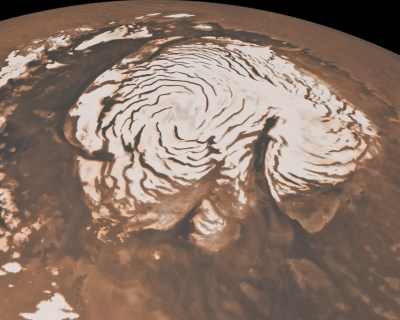 Most of Mars' water is currently frozen as ice, with much of it at the poles as well as underground as buried glaciers. Image Credit: NASA/JPL-Caltech/MSSS