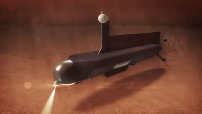 Artist's conception of the Titan Submarine Phase I Conceptual Design. Much like submarines on Earth, the sub would explore the depths of one of Titan's methane/ethane seas. Image Credit: NASA