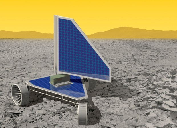 "Artist's conception of the Venus Landsailing Rover. It would use advanced circuits which could survive longer than previous landers in the extreme surface conditions. A ""sail"" on top would help to move the rover on the surface using wind, a technique known as landsailing. Image Credit: NASA GRC"