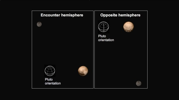 Illustration of the two hemispheres of Pluto as they are currently being seen, including Pluto's orientation. The four odd dark spots can be seen in the second image along the equator. Image Credit: NASA/Johns Hopkins University Applied Physics Laboratory/Southwest Research Institute