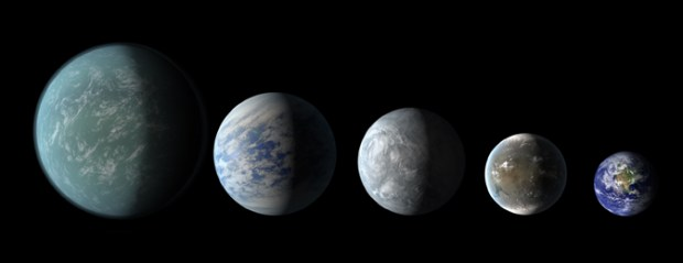 Artist conceptions of the habitable zone planets found so far by Kepler, compared to Earth on the far right. From left to right: Kepler-22b, Kepler-69c, Kepler-62e, Kepler-62f and Earth. Credit: NASA Ames / JPL-Caltech