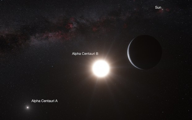 Artist's conception of the Alpha Centauri binary star system and the exoplanet Alpha Centauri Bb. Our own Sun is also shown in the distance. Image Credit: ESO/L. Calçada/N. Risinger