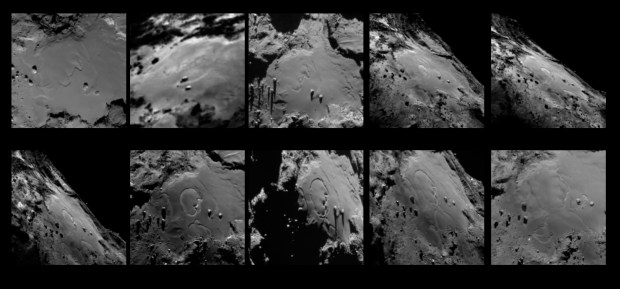 Sequence of images showing the surface changes in the Imhotep region. Image Credit: ESA/Rosetta/MPS for OSIRIS Team MPS/UPD/LAM/IAA/SSO/INTA/UPM/DASP/IDA