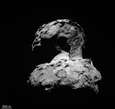 "The unusual double-lobed or ""rubber duck"" shape of Comet 67P has been a mystery, but now scientists think it resulted from the collision of two other comets. Image Credit: ESA/Rosetta/MPS for OSIRIS Team MPS/UPD/LAM/IAA/SSO/INTA/UPM/DASP/IDA"