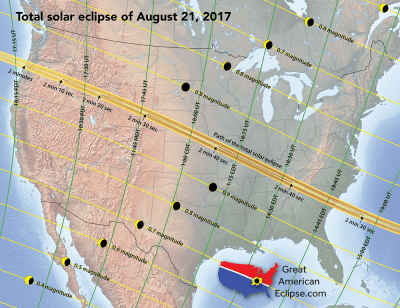 Path of the 2017 total solar eclipse. Credit: Michael Zeiler/www.eclipse-maps.com