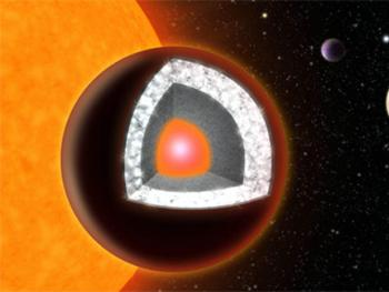 "55 Cancri e had been nicknamed the ""diamond planet"" since its interior is thought to be rich in carbon. Image Credit: Haven Giguere/Yale University"