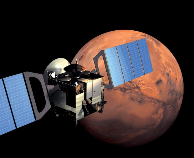 Artist's illustration of Mars Express in orbit. Credit: ESA