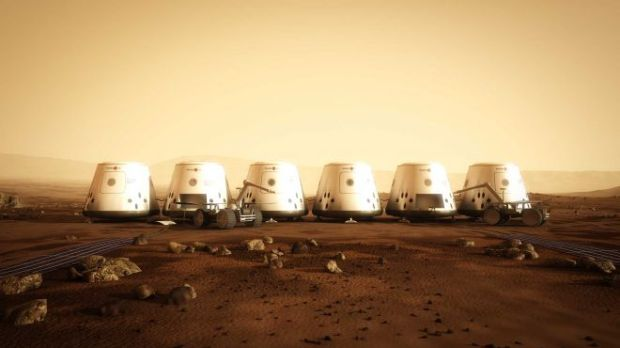 Artist's conception of the first Mars One settlement, scheduled for 2023. Credit:   Mars One