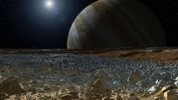 A view many have been waiting for – artist's concept of the surface of Europa. The new NASA budget brings this closer to reality, with funding for not only a flyby probe, but also a lander. Image Credit: NASA/JPL-Caltech