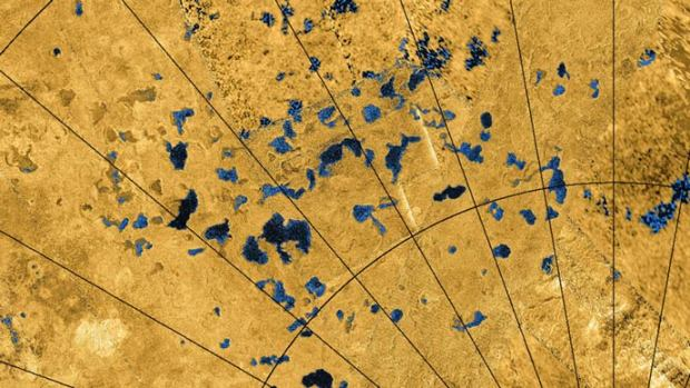 Coloured mosaic of lakes near Titan's north pole. Image Credit: NASA/JPL-Caltech/ASI/USGS