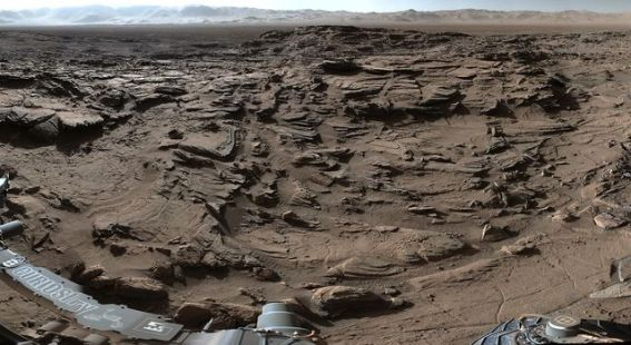 Part of a 360˚ panorama showing the rugged terrain of Naukluft Plateau. Image Credit: NASA/JPL-Caltech/MSSS