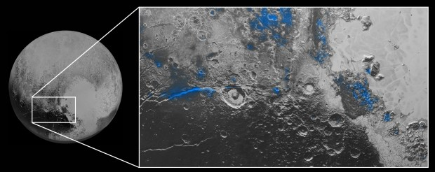 Regions on Pluto with exposed water ice (highlighted in blue). The ice actually appears red in colour images, probably due to reddish tholins. Image Credit: NASA/JHUAPL/SwRI