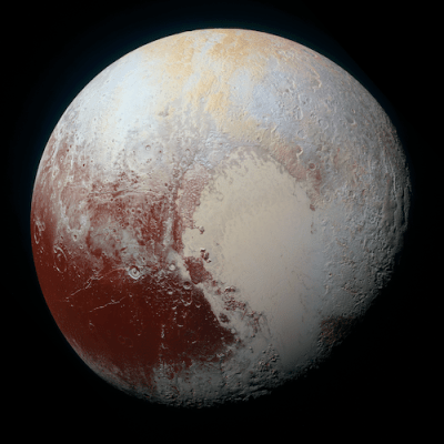 New high-resolution enhanced colour view of Pluto, depicting a range of subtle colours on the dwarf planet's surface. The image shows features as small as 1.3 kilometers (0.8 miles) across. Image Credit: NASA/JHUAPL/SwRI