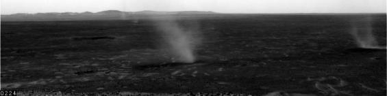 Dust devils seen by the Spirit rover on sol 568 in Gusev crater. Photo Credit: NASA/JPL/Texas A&M