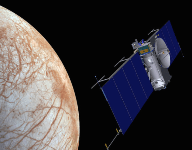 Artist's conception of the Europa Clipper during a flyby of Europa. Image Credit: NASA
