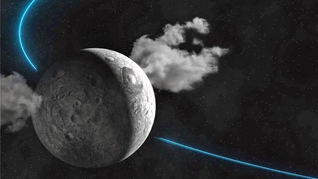 Artist's conception of the water vapour plumes coming from the surface of Ceres. Credit: IMCCE / Paris Observatory / CNRS