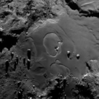 Circular features seen in the Imhotep region on June 27, 2015. Image Credit: ESA/Rosetta/MPS for OSIRIS Team MPS/UPD/LAM/IAA/SSO/INTA/UPM/DASP/IDA