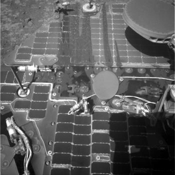 Image taken on sol 4322 (March 21, 2016) showing streaks of sand or dust on one of Opportunity's solar panels. Photo Credit: NASA/JPL-Caltech