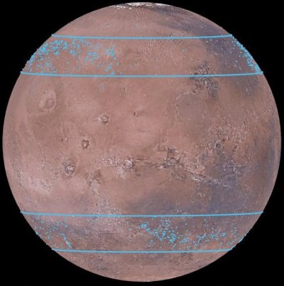 Mars globe showing locations of some of the buried glaciers in the central latitudes of the northern and southern hemispheres. Image Credit: Mars Digital Image Model, NASA/Nanna Karlsson