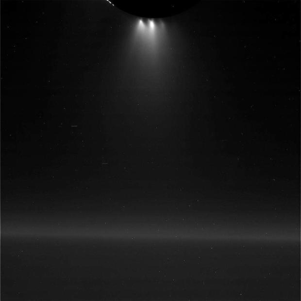 Enceladus' geysers are very prominent in this image taken during the flyby. Image Credit: NASA/JPL-Caltech/Space Science Institute