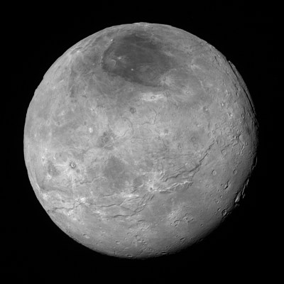 New high-resolution view of Pluto's largest moon Charon, showing tectonic fractures, plains, mountains and the dark polar region. Charon is 1,200 kilometres (750 miles) in diameter and the smallest visible features are 4.6 kilometres (2.9 miles) in size. Image Credit: NASA/Johns Hopkins University Applied Physics Laboratory/Southwest Research Institute