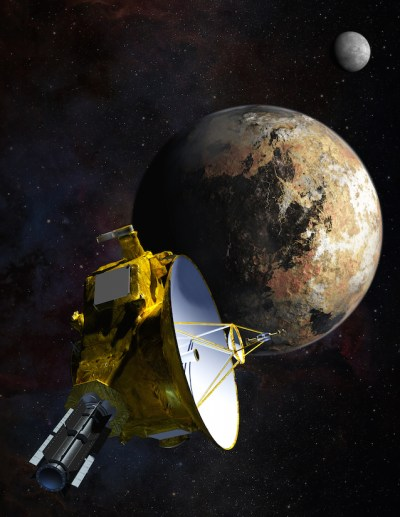 Artist's conception of New Horizons during closest approach of Pluto on July 14, 2015. Image Credit: NASA
