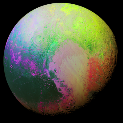 """Psychedelic"" Pluto (false color), as seen by New Horizons on July 14, 2015. Image Credit: NASA/JHUAPL/SwRI"