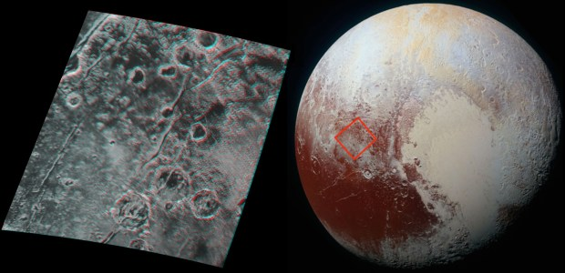 3-D stereo image of Pluto's surface. Red/blue stereo glasses are required to properly view the image. Image Credit: NASA/JHUAPL/SwRI