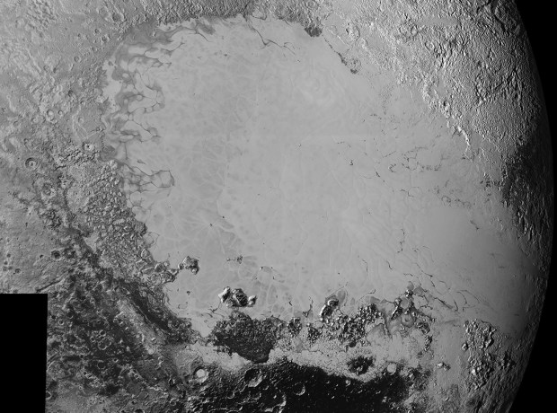 Mosaic of high-resolution images showing the icy plain called Sputnik Planum. It covers a region approximately 1600 kilometres (1,000 miles) wide, and the smallest visible features are 0.8 kilometres (0.5 miles) in size. Image Credit: NASA/Johns Hopkins University Applied Physics Laboratory/Southwest Research Institute