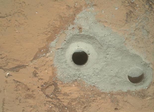 View of both the first drill hole (right) and second drill hole (left). Click for larger version. Credit: NASA / JPL-Caltech / MSSS