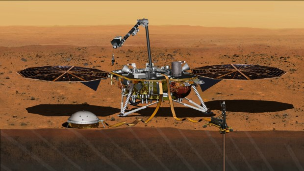 Artist's conception of the InSight lander on Mars. Image Credit: NASA/JPL-Caltech