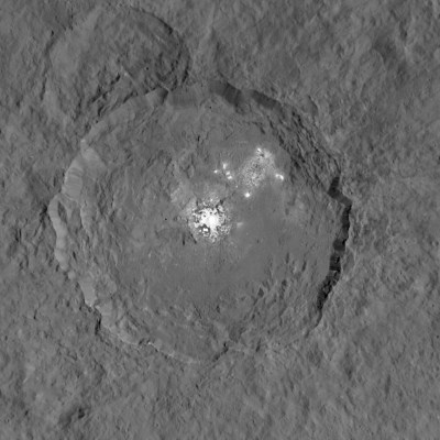 The best view so far of the odd bright spots in Occator crater, now thought to be salt deposits. Images from the lowest orbit will be even better. Photo Credit: NASA/JPL-Caltech/UCLA/MPS/DLR/IDA
