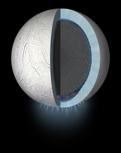 Artist's conception of the interior of Enceladus, depicting the global subsurface ocean, water vapor plumes and hydrothermal activity on the ocean floor. Image Credit: NASA/JPL-Caltech