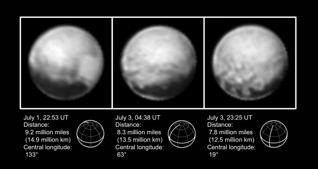 """Three images of Pluto taken by New Horizons from July 1-3, 2015. The four large dark spots and """"donut"""" feature can be seen in the third image. Image Credit: NASA/Johns Hopkins University Applied Physics Laboratory/Southwest Research Institute"""