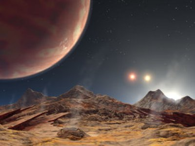 Artist's conception of a hypothetical view of the Alpha Centauri system from an orbiting planet. Image Credit: NASA/JPL-Caltech
