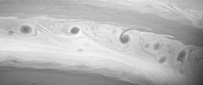 "Closer view of one of Saturn's ""storm alleys"" where the storms stretch out until they encircle the planet. Photo Credit: NASA/JPL/Space Science Institute"