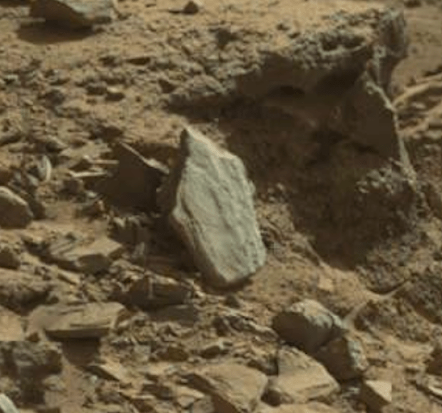 "The ""shield"" rock in Dingo Gap. Credit: NASA / JPL-Caltech"