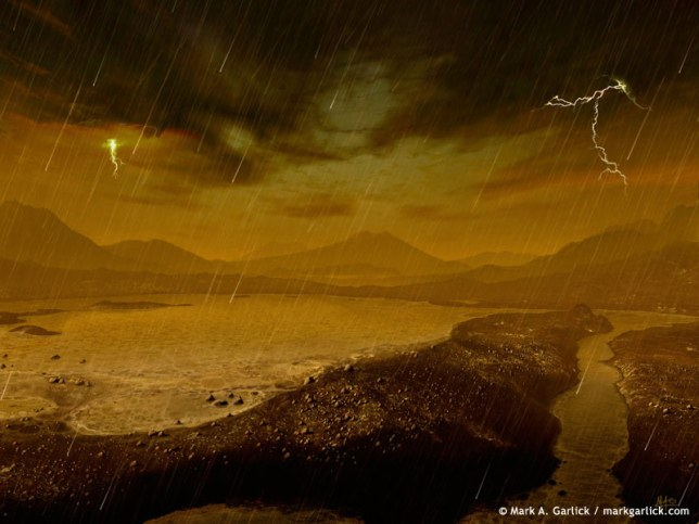 Illustration of methane rainfall and lake on Titan. New research suggests exotic forms of life could be possible in this alien environment. Image Credit: Mark Garlick (Space-art.co.uk)/APOD