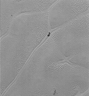 "A lone ""iceberg"" of water ice floats in the nitrogen ice sea of Sputnik Planum. Photo Credit: NASA/JHUAPL/SwRI"