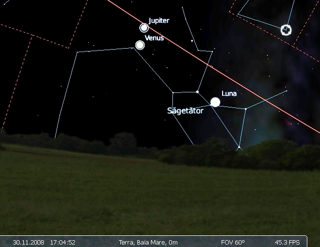 conjunctie Venus Jupiter 30.11.