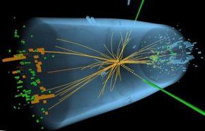 O grafică nedatată, ditribuită pe 4 iulie 2012, de către CERN Geneva arată o reprezentare a urmelor unor urme ale unei coliziuni proton-proton mpsurată într-o experiență CMS în căutarea bosonului Higgs. Descoperirea în a unei noi particule fundamentale considerată a fi bosonul Higgs este una dintre cele mai mari realizări în domeniul fizicii din ultima jumătate de secol și este larg considerată a merita un premiu Nobel pentru cercetare. AFP PHOTO / CERN