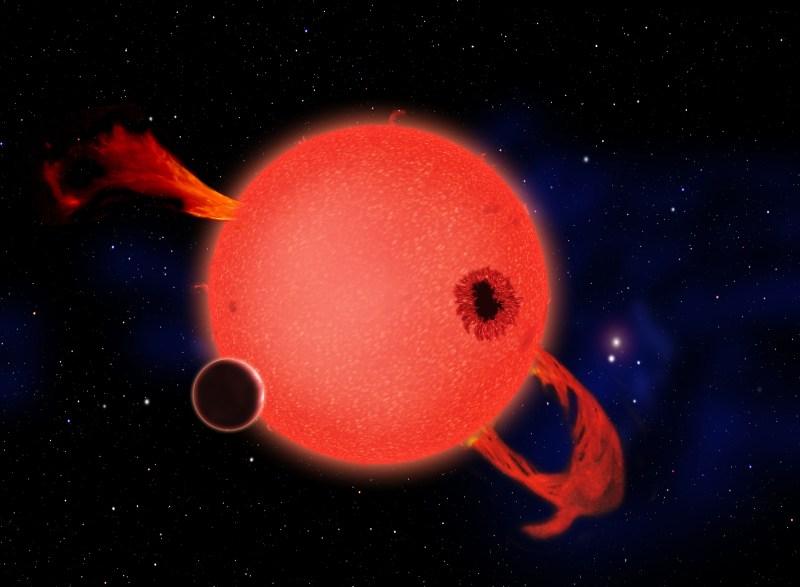 Sugestie artistică: planetă telurică orbitând o pitică roșie. Credit: David A. Aguilar (CfA)