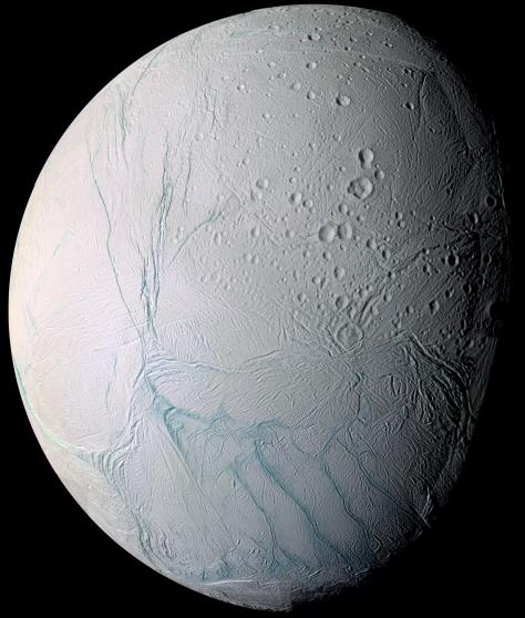 Enceladus seen by Cassini (Credit: NASA / JPL / Space Science Institute).