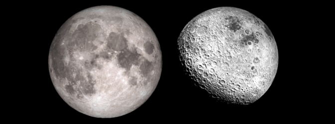 Near (left) and far (right) sides of the Moon. © NASA