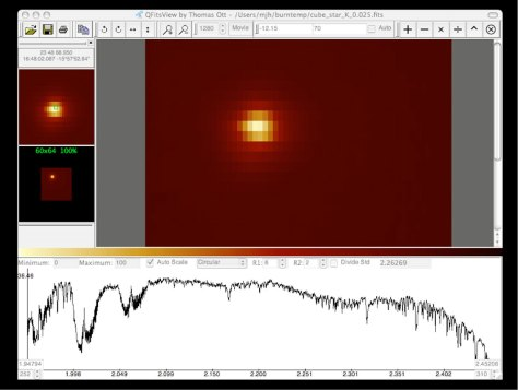 """First Light"" ""data cube"" spectrum obtained with SINFONI on the bright star HD 130163 on July 9, 2004, as seen on the science data computer screen. This 7th-magnitude A0 V star was observed in the near-infrared H-band with a moderate seeing of 0.8 arcsec. The width of the slitlets in this image is 0.25 arcsec. The exposure time was 1 second. © ESO"