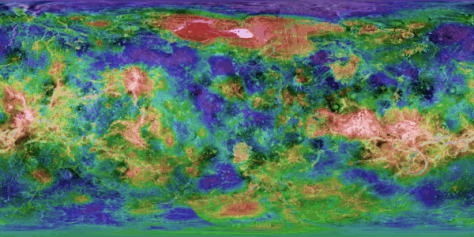 Topography of Venus. The altitude variations are about 13 km with respect to a reference ellipsoid. © Calvin Hamilton, Johns Hopkins University Applied Physics Laboratory
