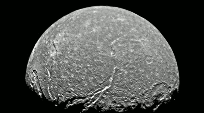 Titania as seen by Voyager 2. © NASA / JPL / USGS