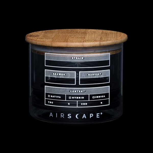 Photo of back side of Cannascape Glass storage canister with wooden top lid