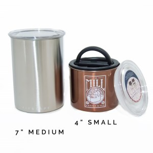 Photo of a seven inch stainless steel canister and a four inch bronze colored canister.