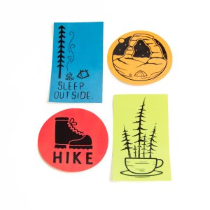 Photo of colorful sticker 4-pack with camping designs